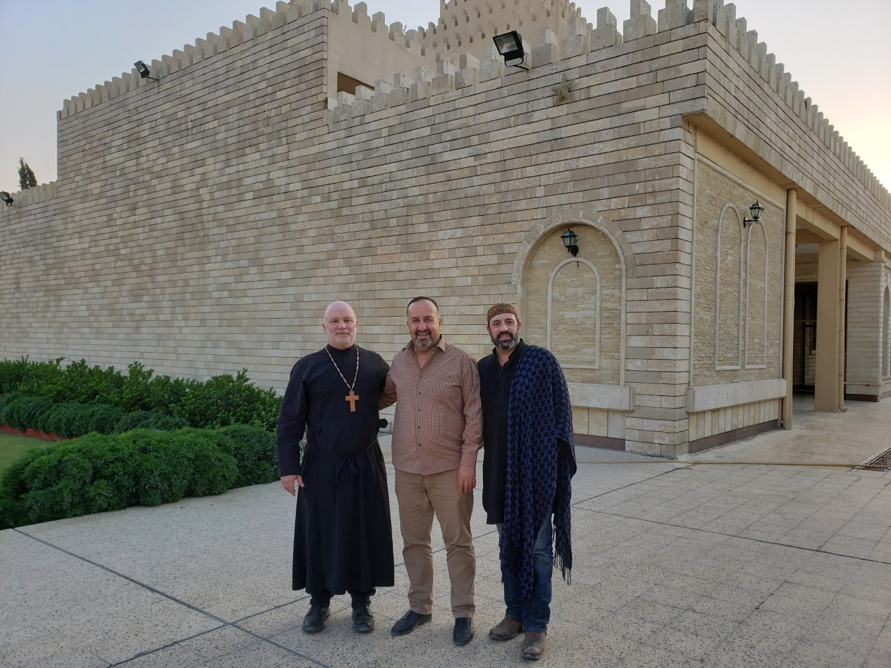 Fr. John, Mr. Ghanim Ilyas Saleem and Mr. John Pinna at the Chaldean Cathedral in Erbil, October 16th 2019